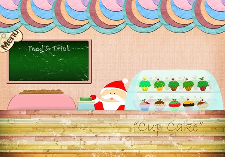 Christmas cupcake shop with Santa photo