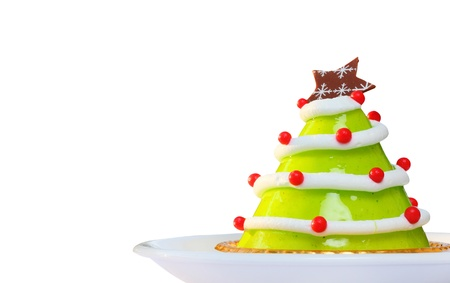 Christmas cake isolated on white photo