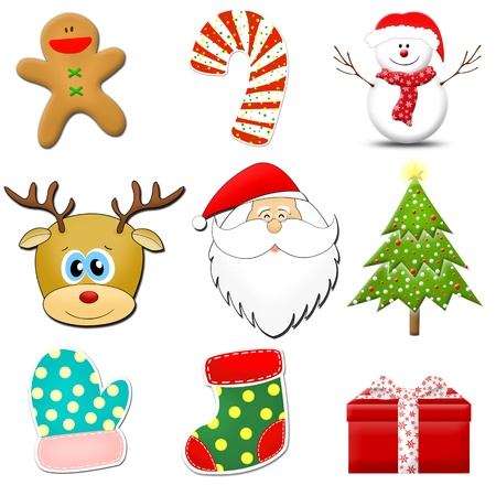 collection of Christmas icons on white photo