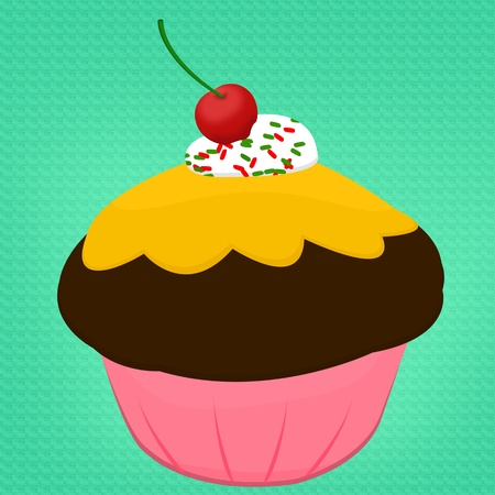chocolate cupcake with cherry isolated on green photo