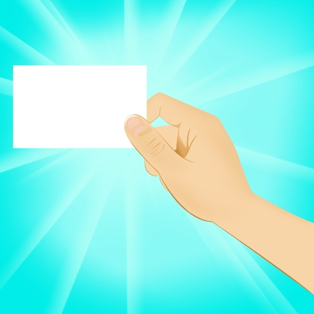 hand holding blank white card Stock Photo - 11852803