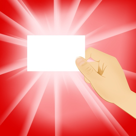 hand holding blank white card Stock Photo - 11852945