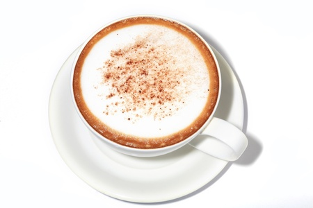 coffee cappuccino in white cup isolated Stock Photo