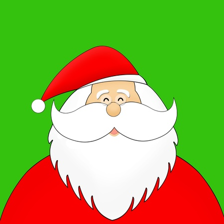 Santa with smiley face isolated on green photo