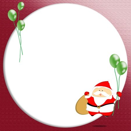 Santa Claus holding balloons with blank photo