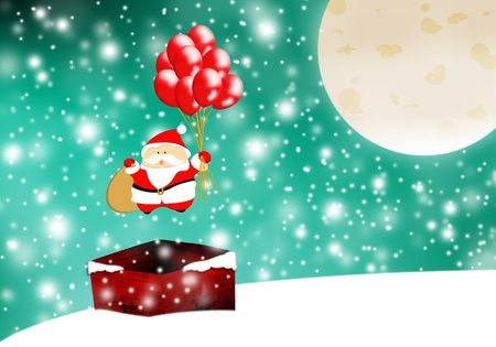 Santa with sack and balloons flying over chimney photo