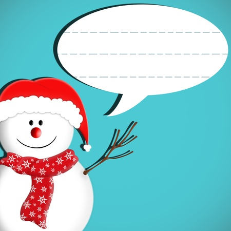 snowman speech bubble message isolated on blue photo
