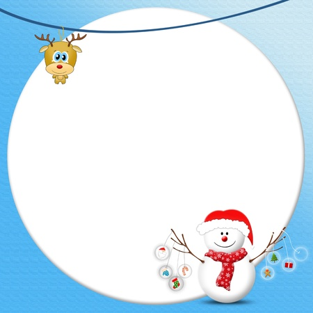 Snowman holding Christmas icons with blank photo