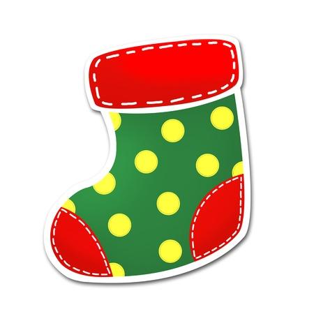 white socks: Christmas sock isolated on white