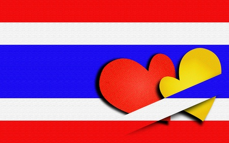 Red and Yellow heart Thailand flag background, Political photo
