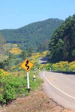 winding road sign, mountain background photo