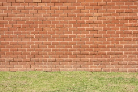 red brick wall: Red brick wall with grass close-up