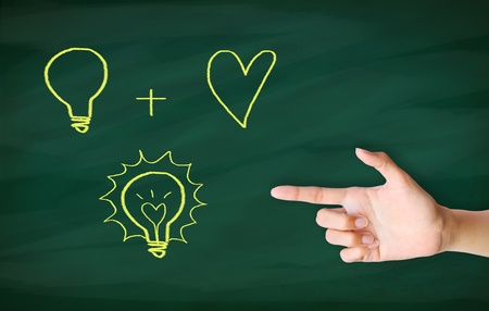 finger point to light bulb drawn on blackboard Stock Photo - 12854709