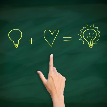 finger point to light bulb drawn on blackboard Stock Photo - 12854712