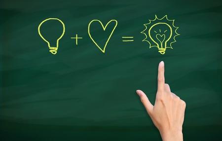 finger point to light bulb drawn on blackboard Standard-Bild