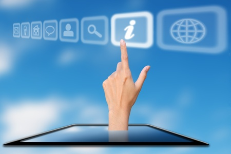 protrude: hand protrude from mobile phone press on information icon, concept Stock Photo