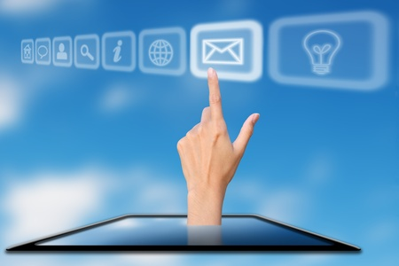 hand protrude from mobile phone press on inbox icon, concept Stock Photo - 12870322