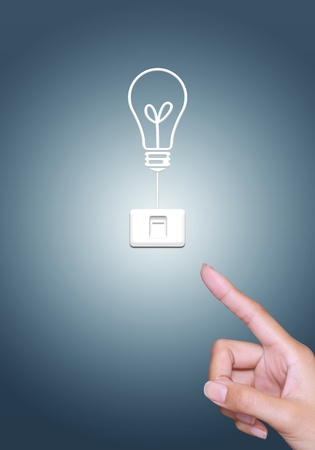 turn off light bulb button, energy saving concept