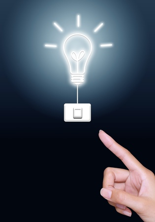 hand press turn on light bulb button