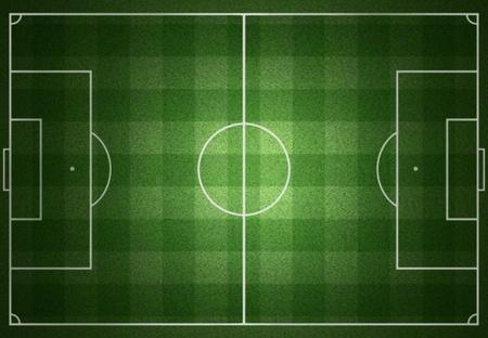soccerfield: voetbalveld met witte lijnen op gras