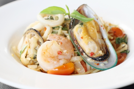 Spaghetti seafood with white wine sauce photo