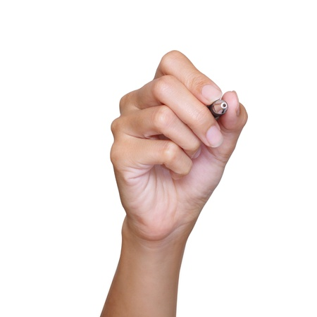 hand holding pen: hand with pen on white background Stock Photo
