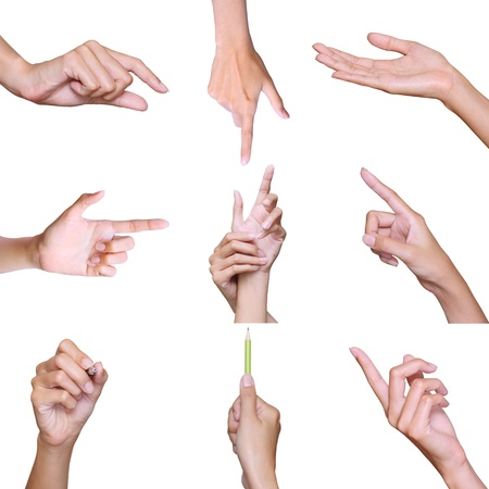 Set of different hands on white background photo