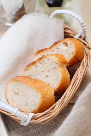 bread sliced and decorated in basket  photo