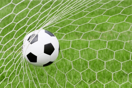 soccer field: Soccer ball in net