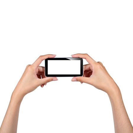 Hands holding smartphone isolated on white photo