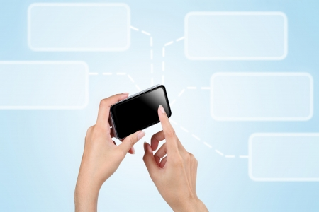 Hand touch screen to smart phone with social network background Stock Photo - 15651106