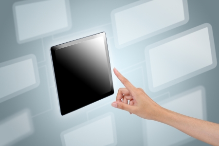 Hand touch screen to tablet with social network background Stock Photo - 15650896