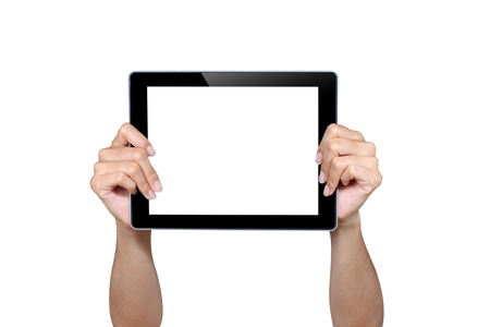 Hands holding tablet isolated on white Stock Photo - 16029954