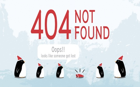 Christmas 404 error - Penguin family Vector