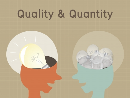 good quality: Quality and Quantity Concept Illustration