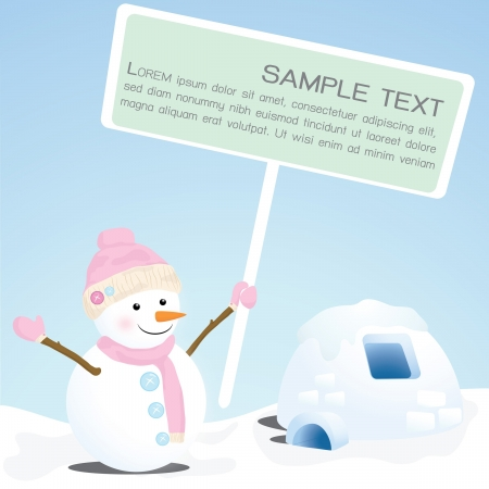Snowman showing blank sign Vector