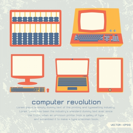 computer education: Computer revolution set icon