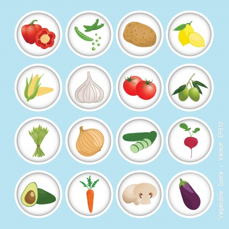 asparagus: vegetable icons set, vector