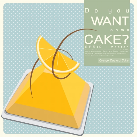 Orange Custard Cake Illustration Vector
