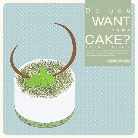 Green Tea Cake illustration Vector