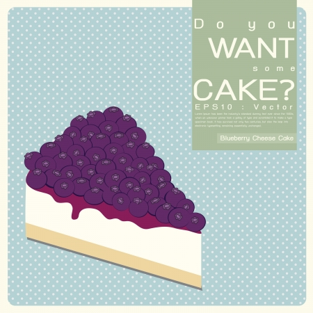 Blueberry Cheese Cake illustration Vector