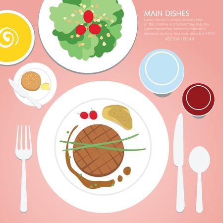 gourmet dinner: Main dish, food Illustration
