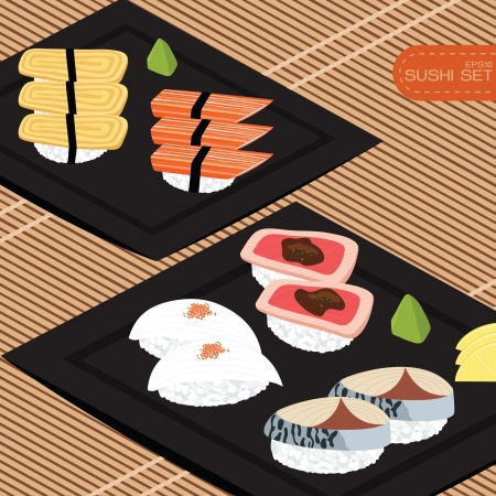 raw beef: Sushi set
