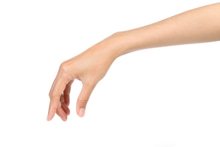 hand grip: Hand pose like picking something isolated on white