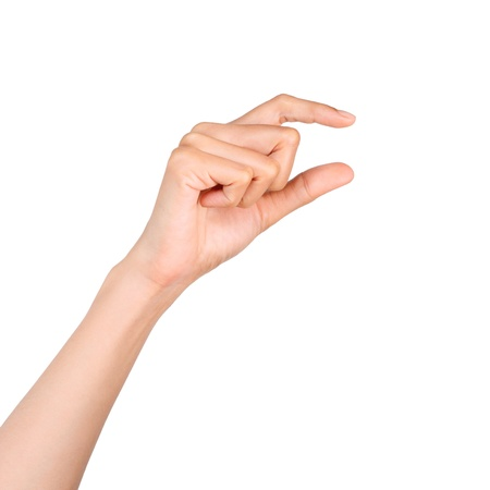 attention grabbing: Hand holding something with space in blank on white Stock Photo