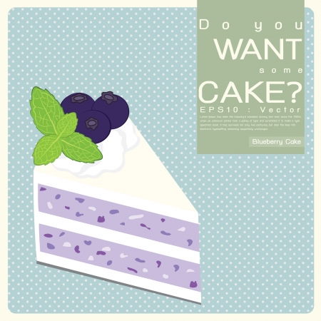 porcion de pastel: Cake Blueberry, Vector Icon Vectores