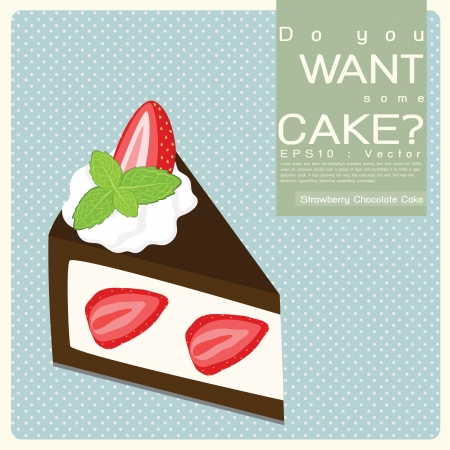 Strawberry Chocolate Cake, Vector Icon Vector