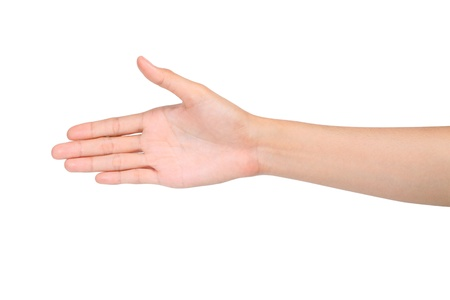 Hand open ready for handshake on white background