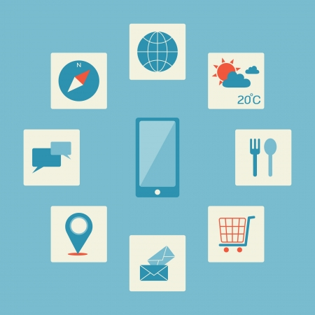 check in: Smartphone application icon, vector Illustration