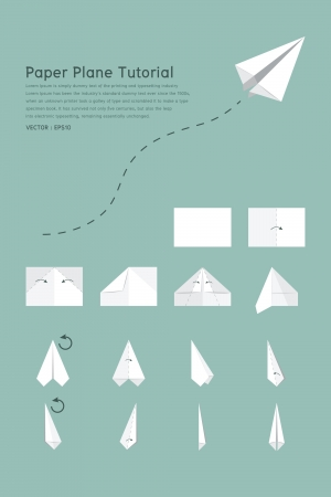 Paper plane tutorial, vector Stock Vector - 18305502